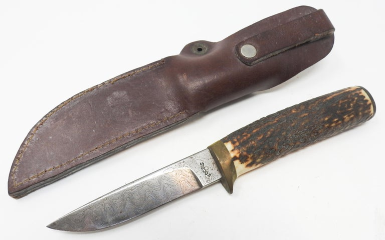 American Antler Handle Short Knife with Leather Sheath For Sale