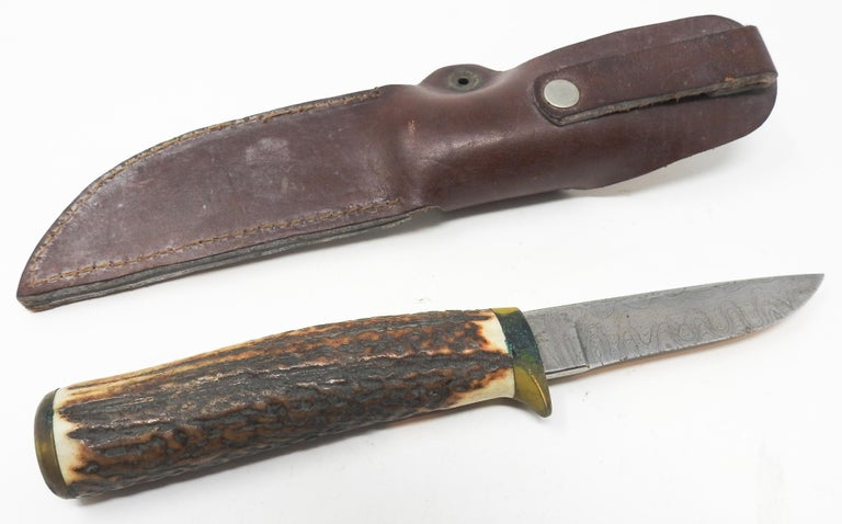 Hand-Crafted Antler Handle Short Knife with Leather Sheath For Sale