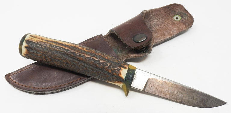 Antler Handle Short Knife with Leather Sheath For Sale 1