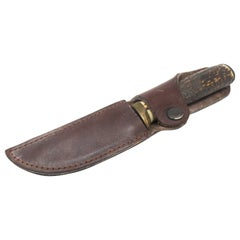 Antler Handle Short Knife with Leather Sheath