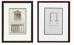 18th Century Pair of Du Temple de la Fortune Virile Facade and Floor Plan