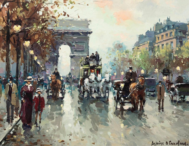 Antoine Blanchard (1910 - 1988) Arc de Triomphe, Champs-Elysees  Antoine Blanchard Catalogue Raisonne # ATCES1318.0025  This painting has been photographed and authenticated with the above catalogue number. Guaranteed Authentic.  Oil on canvas: 13 x