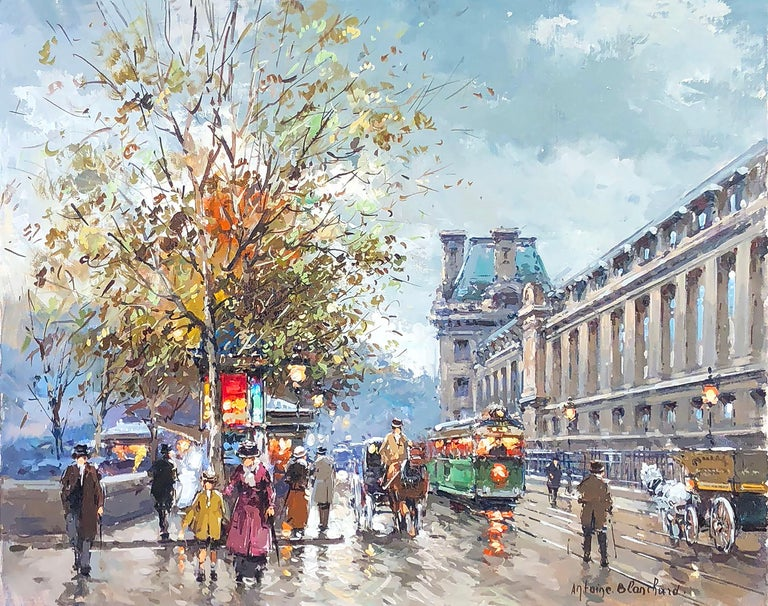 Along the Louvre - Painting by Antoine Blanchard