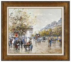 Antoine Blanchard Oil Painting On Canvas Original Paris France Landscape Framed