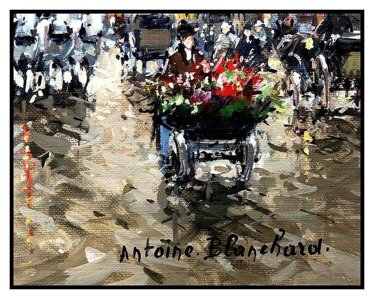 Antoine Blanchard Original Painting Oil On Canvas Paris France Cityscape Signed For Sale 1