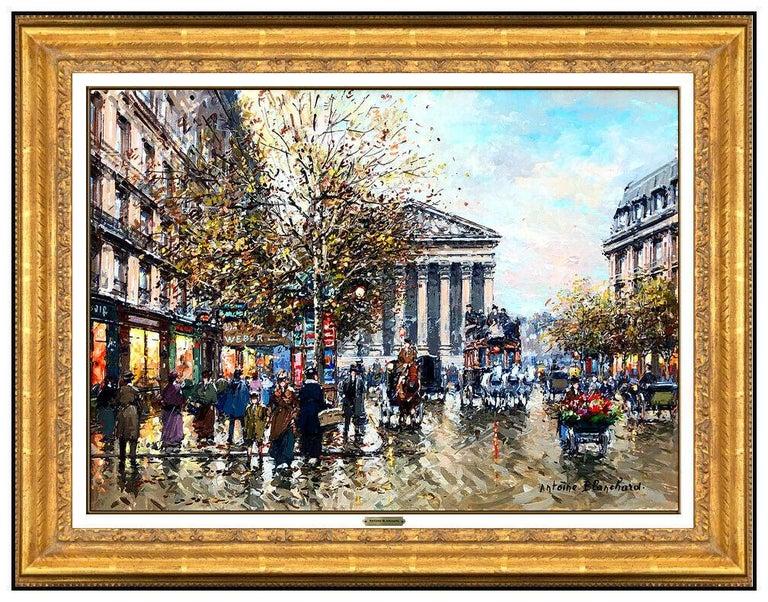 Antoine Blanchard Original Painting Oil On Canvas Paris France Cityscape Signed - Beige Landscape Painting by Antoine Blanchard