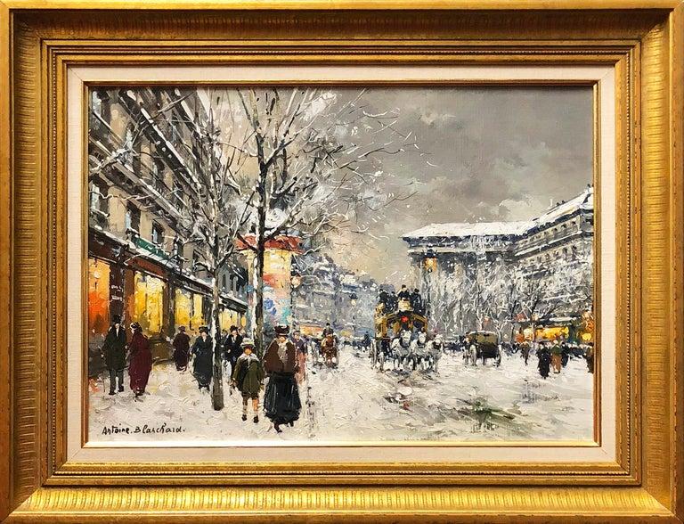 Antoine Blanchard Figurative Painting - Boulevard de la Madaleine sous la Neige
