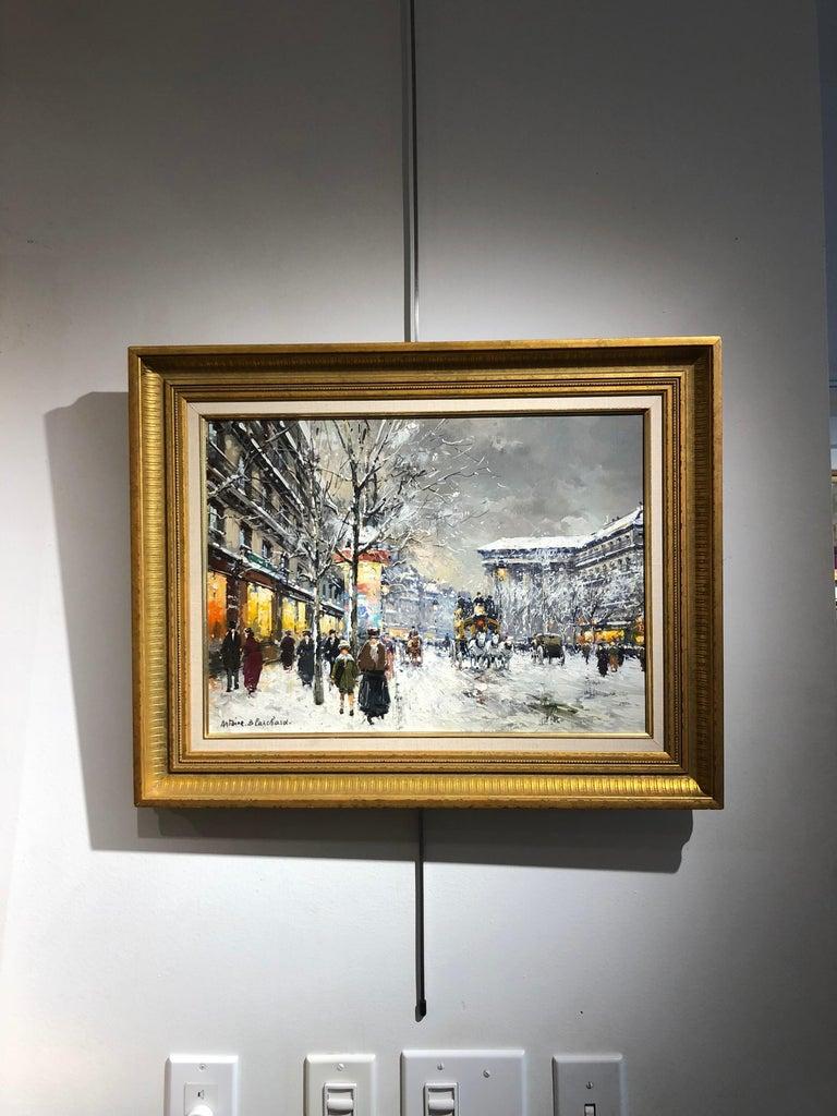 Boulevard de la Madaleine sous la Neige - Impressionist Painting by Antoine Blanchard