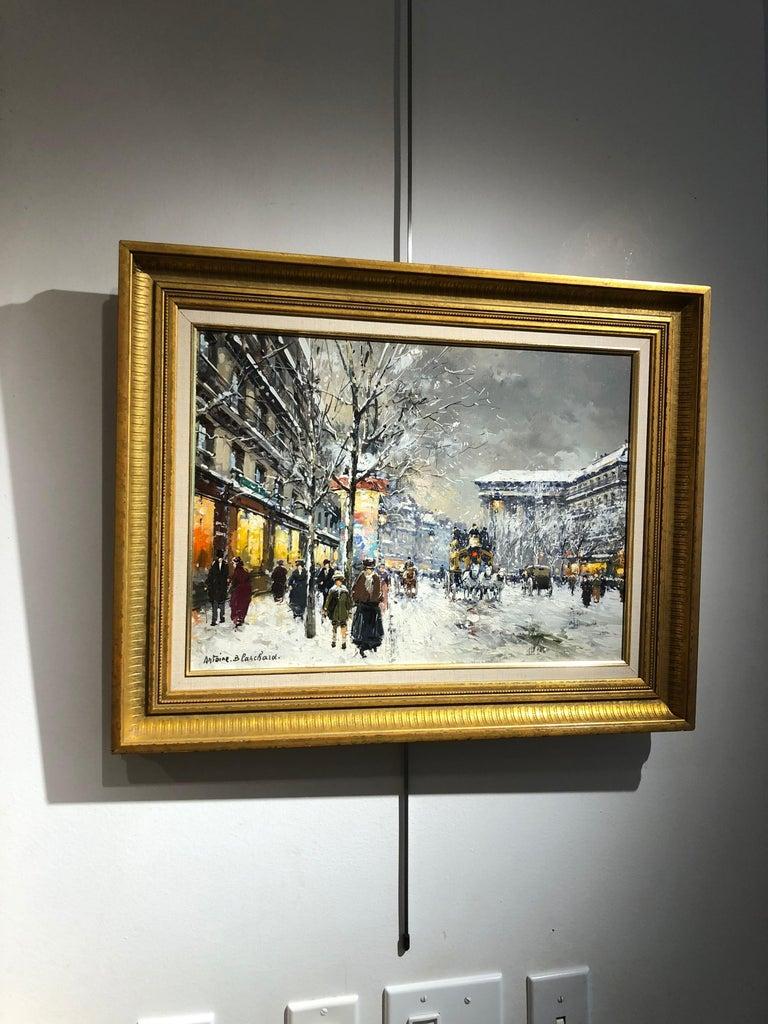 Boulevard de la Madaleine sous la Neige - Brown Figurative Painting by Antoine Blanchard