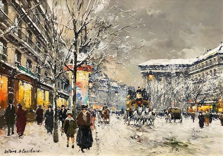 Boulevard de la Madaleine sous la Neige - Painting by Antoine Blanchard