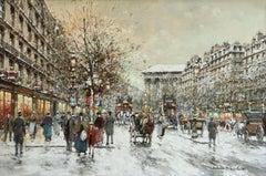 Boulevard de la Madeleine - 20th Century Oil, Figures in Cityscape by Blanchard