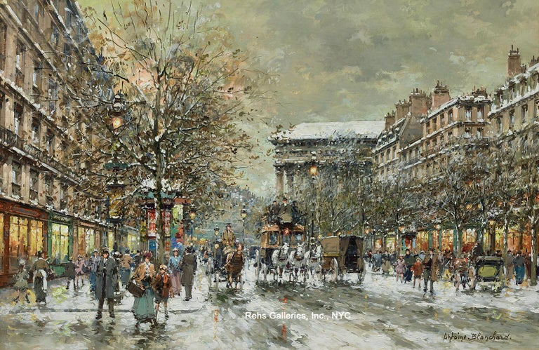 A large and important example from Blanchard's Paris Street Scene series.  The painting is in perfect condition and nicely framed.