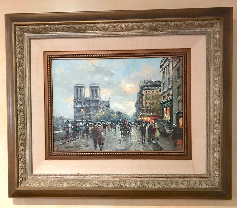 "Artist: Antoine Blanchard Work: Original Oil Painting, Handmade Artwork, One of a Kind Medium: Oil on Linen, Year: 1910-1988 Style: Impressionism, Subject: Cityscape, Size: 13"" x 18"" x 0.8'' inch, 33x45.5x2cm, Framed: 30''x35''x4'' inch,"