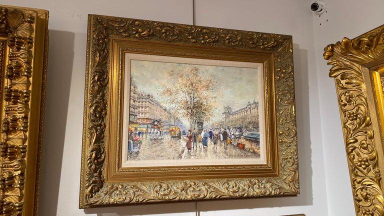 Le Quais et la Louvre - Painting by Antoine Blanchard