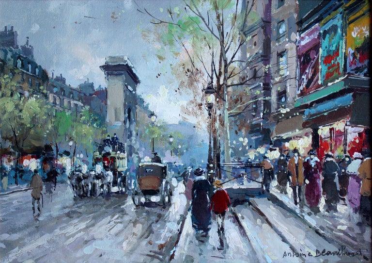 Les Grands Boulevards et La Porte Saint Denis - Painting by Antoine Blanchard