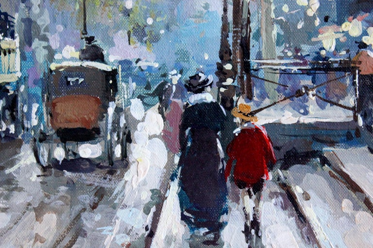 Les Grands Boulevards et La Porte Saint Denis - Impressionist Painting by Antoine Blanchard