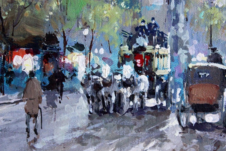 An exquisite oil painting by renown artist Antoine Blanchards depicting the French street scene Les Grands Boulevards et La Porte Saint Denis. There are horse and buggy along the street with bustling of people walking about their day. A vivid and