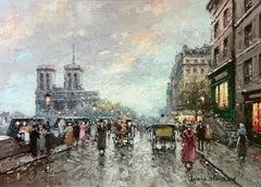 """""""Notre Dame"""", Antoine Blanchard, Oil on Canvas, French Impressionism"""