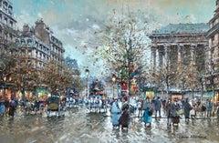 Paris - La Madeleine - Post Impressionist, City Landscape by Antoine Blanchard