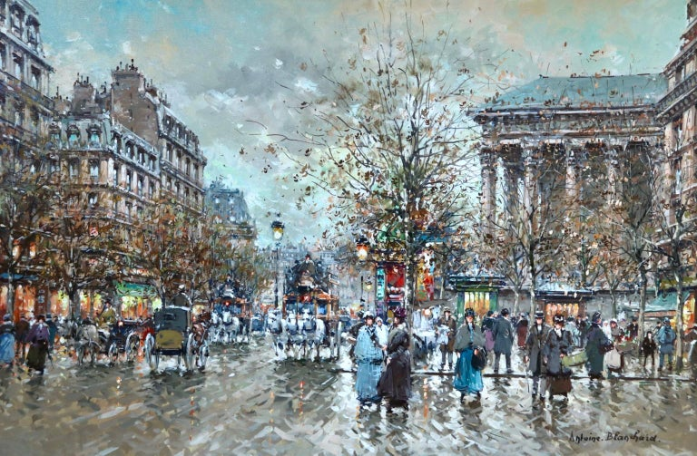 A wonderful oil on canvas circa 1970 by French Post-Impressionist painter Antoine Blanchard depicting a cityscape showing the hustle and bustle at La Madeleine in Paris on a cold day. Signed lower right. The painting is listed in the Antoine