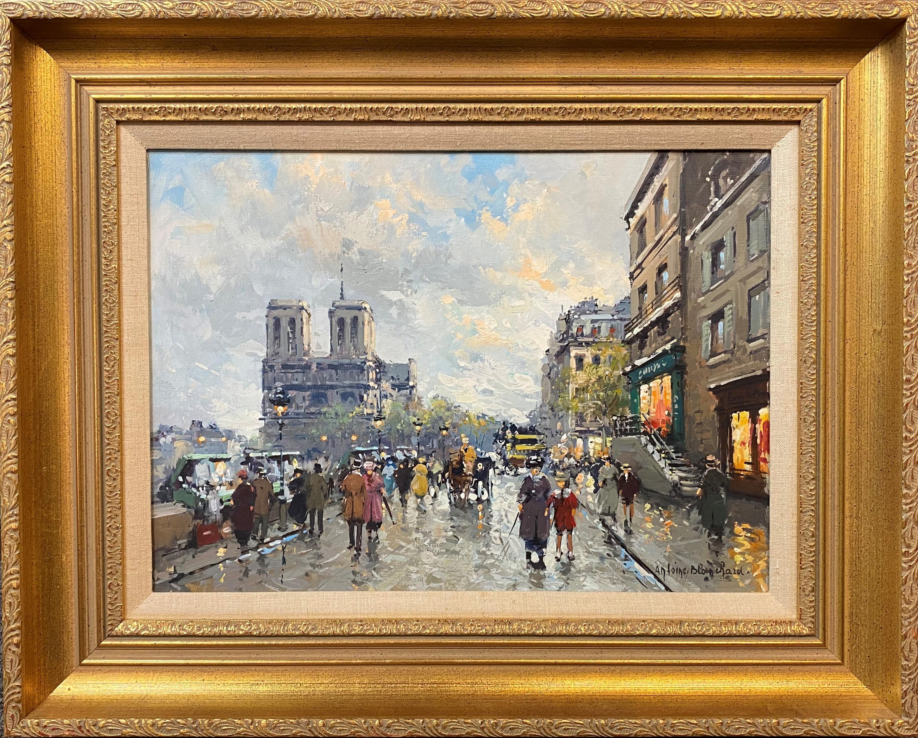 Parisian Street Scene with Notre Dame