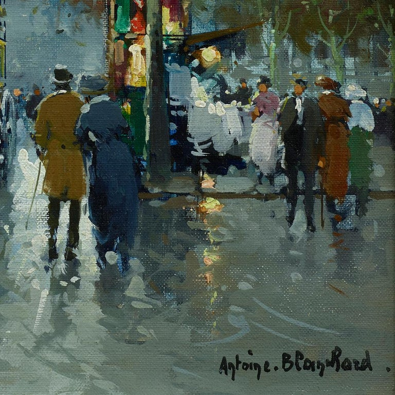 Place de la Madeleine is an early example from Antoine Blanchard's Paris Street Scene series.  Other artists who created similar views include Edouard Cortes, Eugene Galien Laloue, Jean Beraud, and Jean Salabert.  This painting also included a