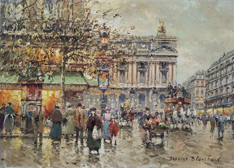 """Place de l'Opera, Paris,"" Antoine Blanchard, French Impressionist Street Scene - Painting by Antoine Blanchard"