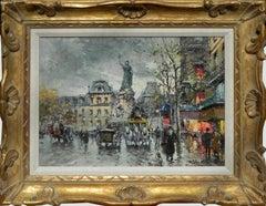 """Place de Republic"", Antoine Blanchard, Oil on Canvas, French Impressionism"