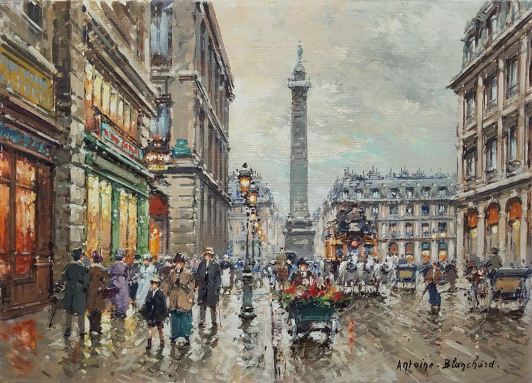 """""""Place Vendrome, Paris,"""" Antoine Blanchard, French Impressionist Street Scene - Painting by Antoine Blanchard"""