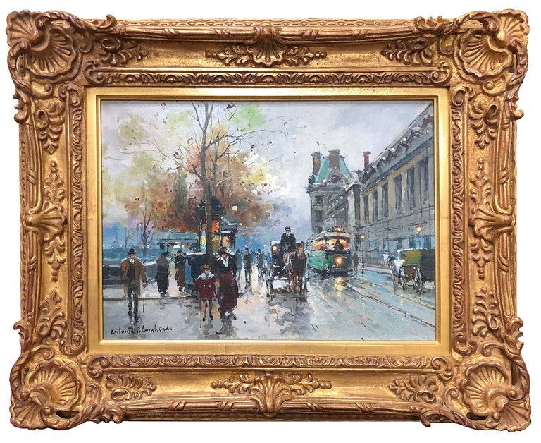Antoine Blanchard Figurative Painting - Quai de Louvre
