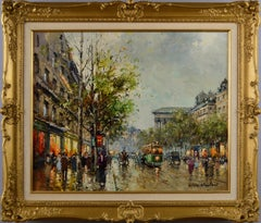 Townscape street scene oil painting of a Paris Boulevard