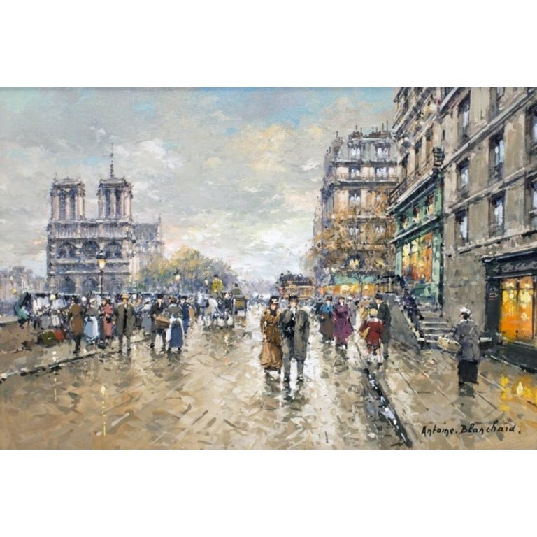 Antoine Blanchard, Paris, Notre Dame Signed Antoine Blanchard For Sale