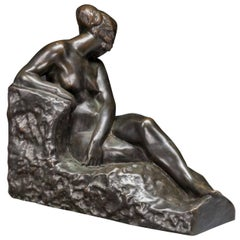 Antoine Bouraine French Bronze of a Lounging Nude Woman, 1900