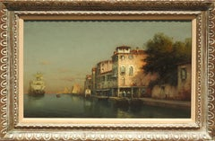 """""""A Quiet Canal"""", Antoine Bouvard, Blue Impressionist, Venice Landscape, Sailboat"""