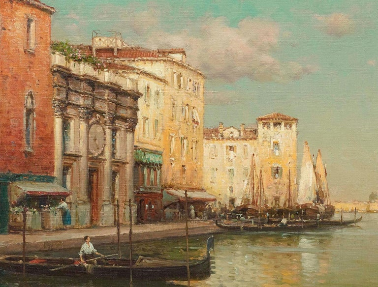 Landscape painting of Venice by Antoine Bouvard Senior 'Golden Reflections' - Old Masters Painting by Antoine Bouvard (Marc Aldine)
