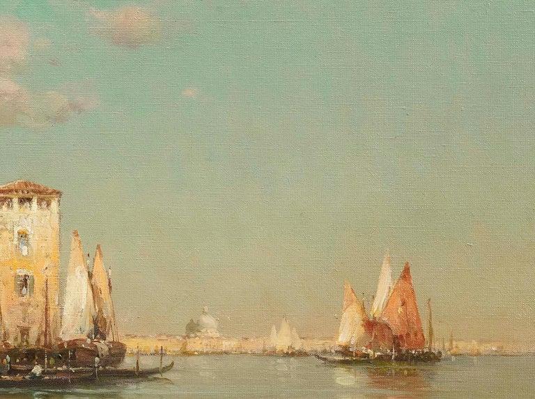 Landscape painting of Venice by Antoine Bouvard Senior 'Golden Reflections' - Gray Landscape Painting by Antoine Bouvard (Marc Aldine)