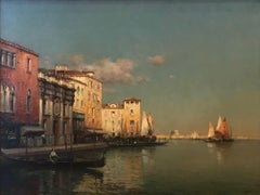 Landscape painting of Venice by Antoine Bouvard Senior 'Golden Reflections'