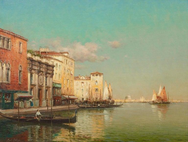 Antoine Bouvard (Marc Aldine) Landscape Painting - Landscape painting of Venice by Antoine Bouvard Senior 'Golden Reflections'
