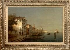 """The Canal"", Antoine Bouvard, Blue, Impressionist, Venice Landscape, Gondolas"