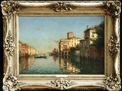 Venice-19th Century Oil, Boats on Canal Landscape by A Bouvard Snr (Marc Aldine)