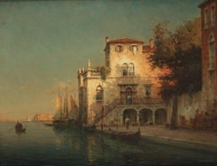 """""""Sunset Venice"""", landscape with architecture, gondolas and boats, oil on canvas"""