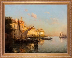 A gondolier on a Venetian Canal, Venice by French artist Antoine Bouvard