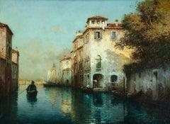 A Venetian Backwater- 20th Century Oil, Venice Canal Landscape - Antoine Bouvard