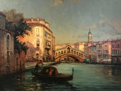 Painting of  Venice depicting the Canals & Gondola 'The Start of the Day'