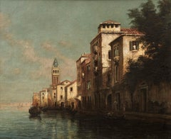 Venetian Landscape of Buildings, gondola and Canal. Venice 'Evening Glow'