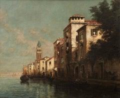Venetian Landscape of Buildings, gondola and Canal. Venice 'Evening Glow'
