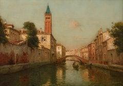 Venetian Landscape Painting 'Sunrise in Venice' by Antoine Bouvard Snr.