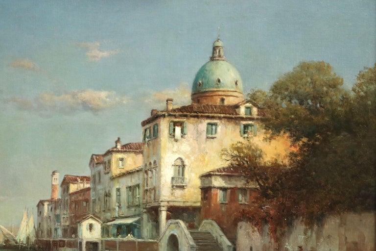 Venice - 19th Century Oil, Gondolas on Canal Landscape by Antoine Bouvard Snr - Painting by Antoine Bouvard Snr.