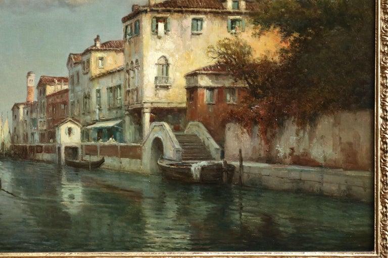 Venice - 19th Century Oil, Gondolas on Canal Landscape by Antoine Bouvard Snr - Impressionist Painting by Antoine Bouvard Snr.