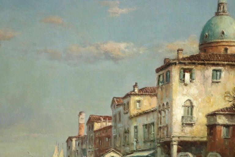Venice - 19th Century Oil, Gondolas on Canal Landscape by Antoine Bouvard Snr - Brown Landscape Painting by Antoine Bouvard Snr.